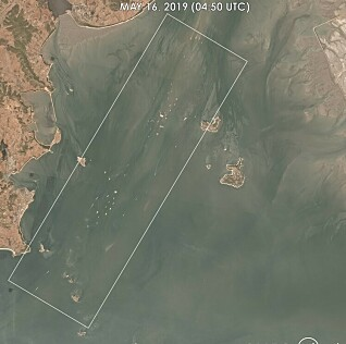 <strong>SKIP:</strong> På satelittbilder fra 16. mai i fjor har C4ADS klart å identifisere over 100 skip, noe de mener er ekstremt oppsiktsvekkende. Foto: C4ADS