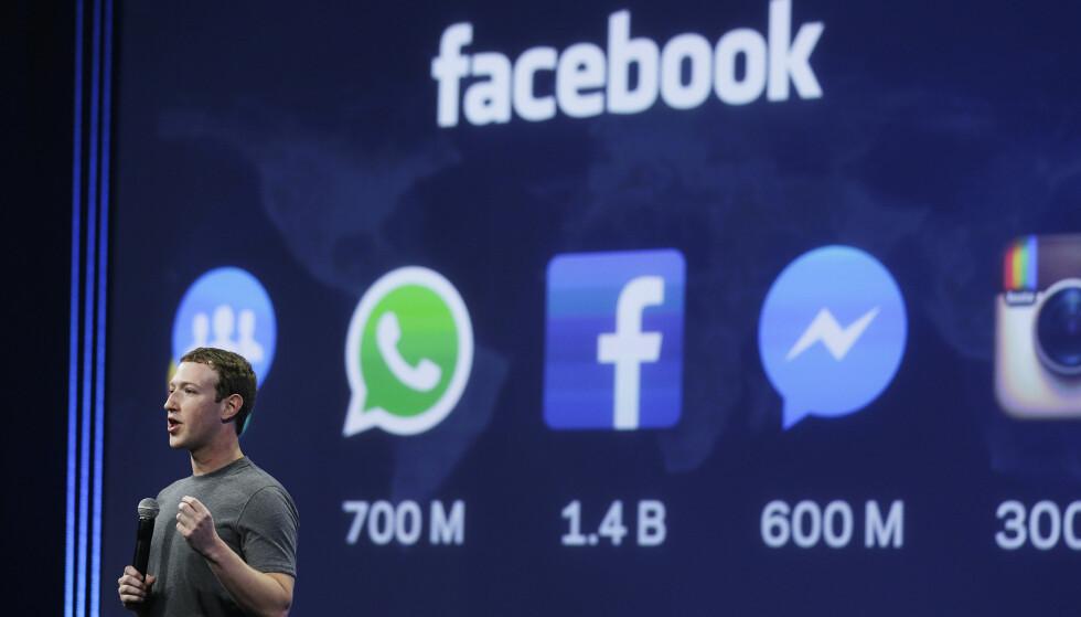 SØKMÅL: Den ferske dommen stammer fra et søksmål som en østerriksk advokat rettet mot Facebook. Advokaten hevdet at personvernrettighetene hans ble krenket da dataene hans ble overført til USA. Her Facebook-sjef Mark Zuckerberg under en tale i 2015. Foto: Eric Risberg / AP / NTB Scanpix