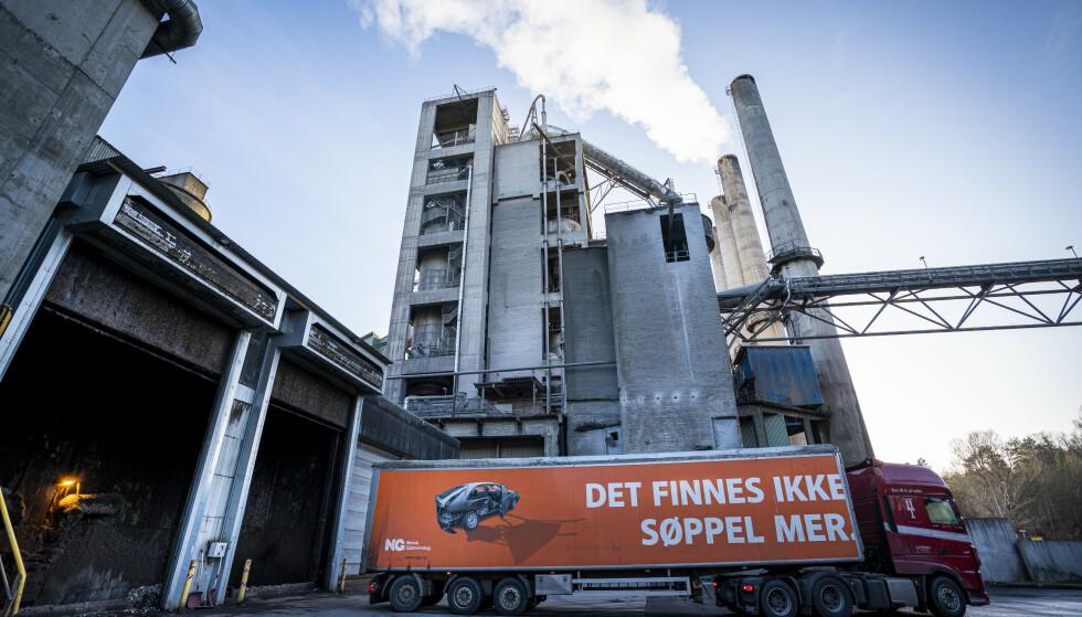 Sementprodusenten Norcem i Brevik i Telemark er et av de to anleggene som inngår i prosjektet om norsk karbonfangst og -lagring. Foto: Heiko Junge / NTB scanpix.