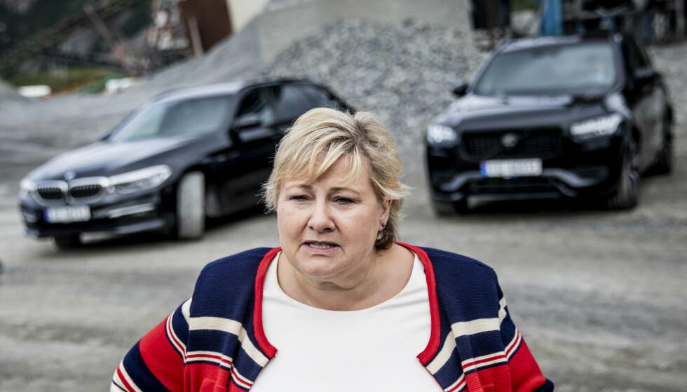 DILEMMAER: Statsminister Erna Solberg (H) sier hun ble overrasket over ansettelsen av Nicolai Tangen som oljefondssjef. Foto: Christian Roth Christensen