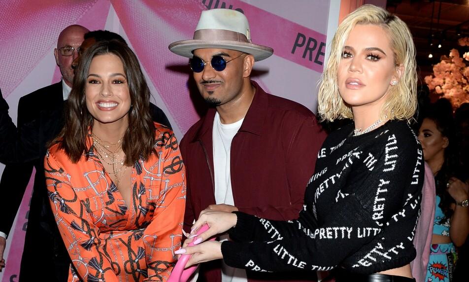 KJENTE VENNER: Da Umar Kamani skulle åpne Los Angeles-kontoret til Pretty Little Thing fikk han realitystjerne Khloe Kardashian (t.h.) til å kippe snora. Til venstre er Kamanis forretningspartner Ashley Graham. Foto: BROADIMAGE / REX / SHUTTERSTOCK / NTB Scanpix
