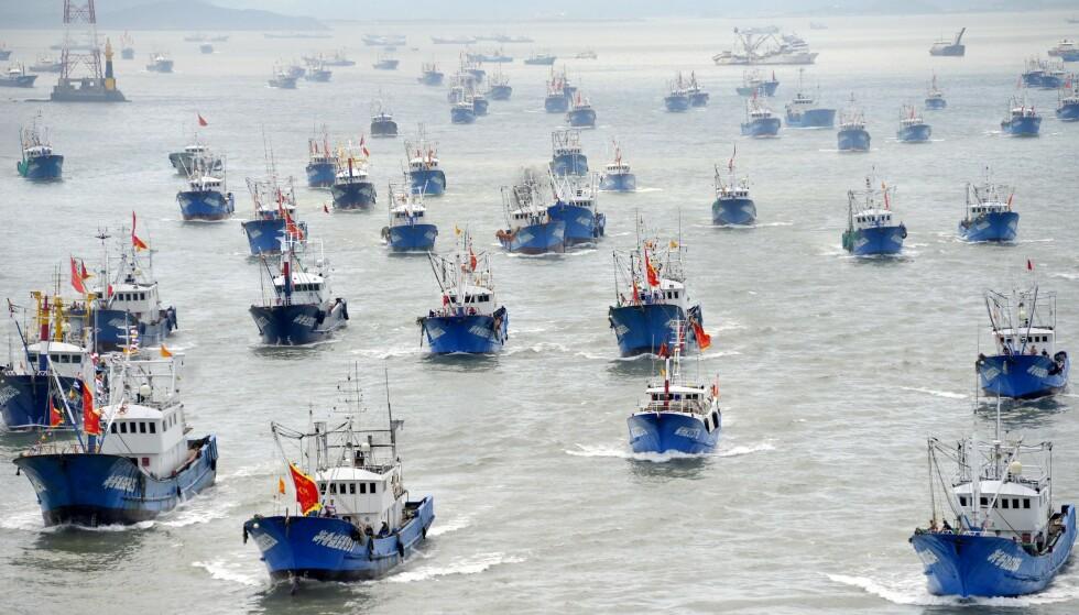 ANKLAGES: Hundrevis av kinesiske skip anklages for å plyndre verdenshav. Her båter med kinesiske flagg i en havn i byen Zhoushan i Kina i 2016. Foto: AFP/NTB Scanpix.