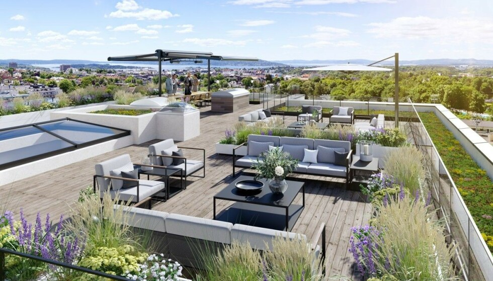 UTSIKT: Toppleiligheten i boligprosjektet er det dyreste objektet for salg på det åpne markedet. Foto: Oxivisuals