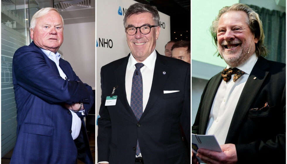 MILLIARDÆRER: John Fredriksen (f. v.), Stein Erik Hagen og Odd Reitan er tre av Norges mest profilerte milliardærer. De siste årene har de fått stadig flere milliardærkolleger, og det mener Hagen er bra. Foto: NTB