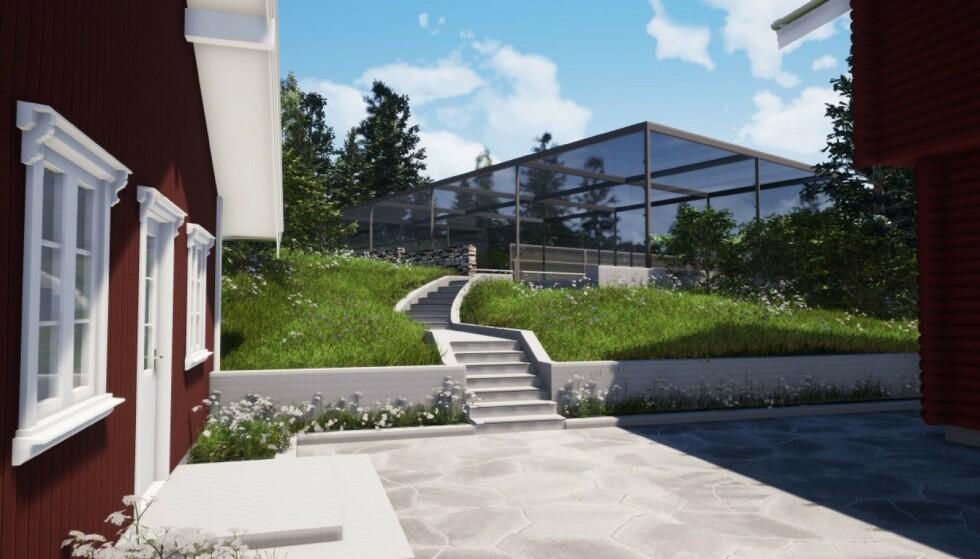 <strong>FÅR DISPENSASJON:</strong> Kjell Inge Røkke har fått godkjent planene om å bygge en padelbane på egen eiendom. Dette er bildene som ble vedlagt i søknaden. Foto: Fristed Arkitekter