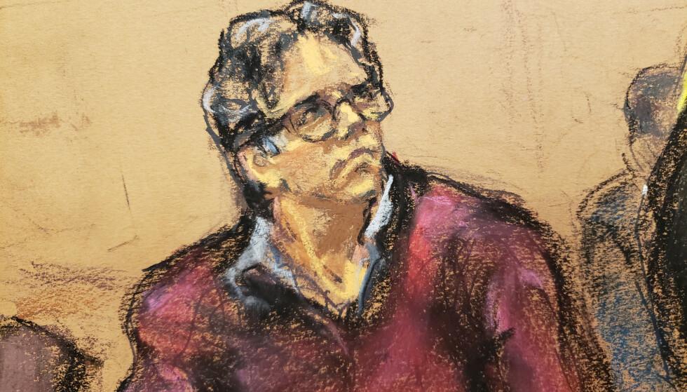 LEDER: Rettstegning av Keith Raniere i retten i fjor sommer. Foto: REUTERS/Jane Rosenberg / NTB