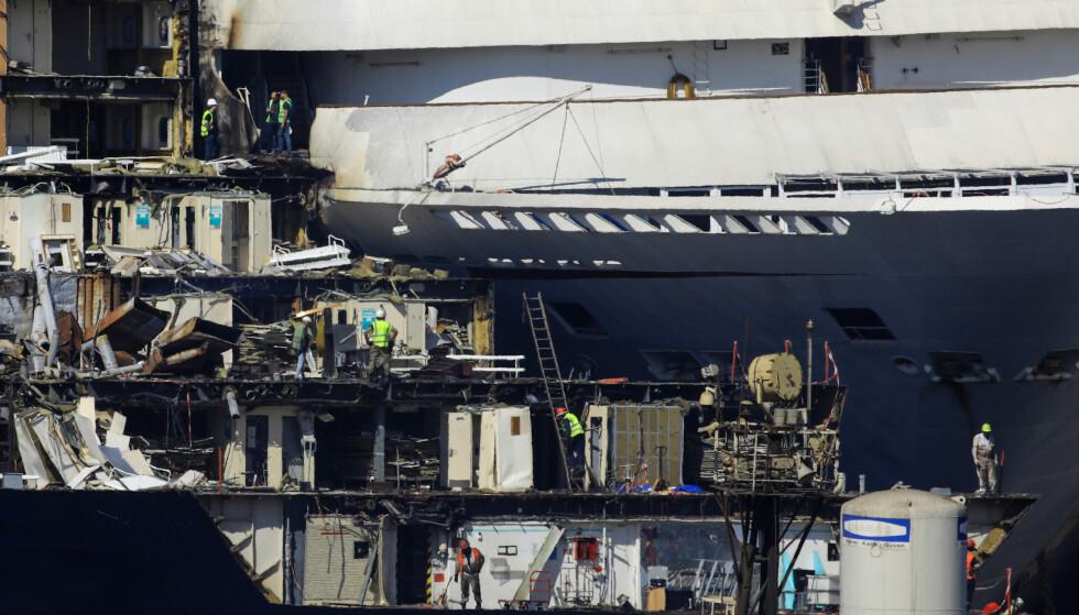 VRAK: Bit for bit blir de kasserte cruiseskipene plukket fra hverandre. Foto: REUTERS / Umit Bektas / NTB