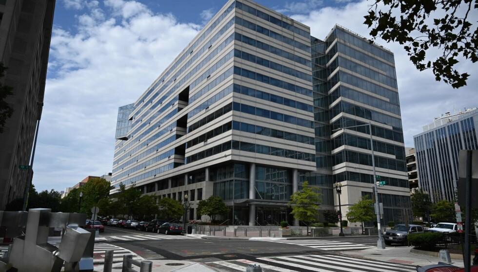 NEDGANG: Hovedkontorene til verdensbanken og det internasjonale pengefondet ligger side ved side i Washington. IMF spår verdensøkonomien vil falle 4,4 prosent i år. Foto: Eric BARADAT / AFP / NTB