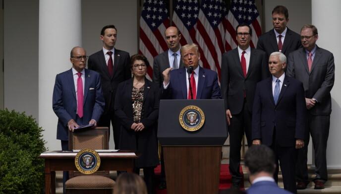 RÅDGIVER: President Donald Trump avbildet under en pressekonferanse i Det hvite hus i juni i år. Øverst til høyre står svenske Tomas Philipson - som i senere tid har forlatt rådgiverstillingen. Foto: Evan Vucci / AP Photo / NTB