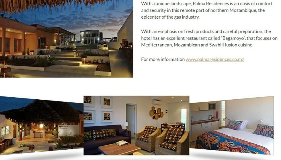 FUSION CUISINE: Palma Residences reklamerer med blant annet en utmerket restaurant med fokus på såkalt «fusion cuisine». Illustrasjon: africancentury.co.mz