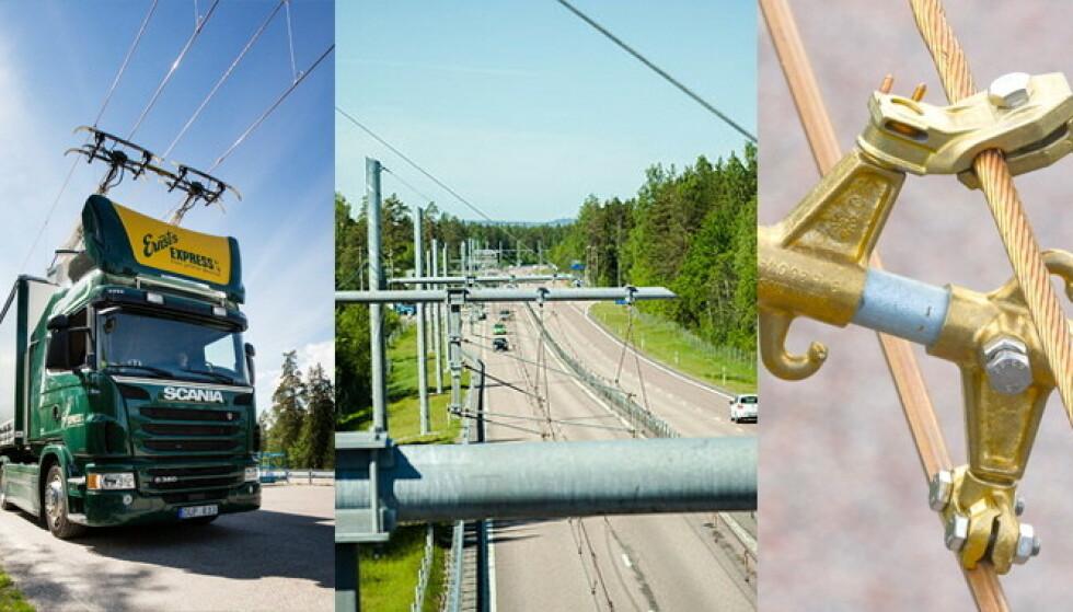 KJØRELEDNING: På teststrekket i Gävle benytter de seg av kjøreledninger i lufta på samme måte som for trikker og tog. Foto: Region Gävleborg