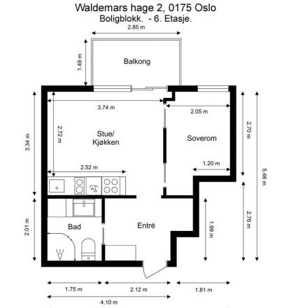 PLANTEGNING: Slik ser den ulovlig seksjonerte leiligheten ut.