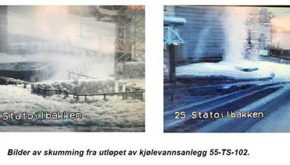 AVFØRING OG E-COLI: Skummet som spres på LNG-anlegget på Melkøya inneholder tarmbakterier, og saken er nå anmeldt til politiet.