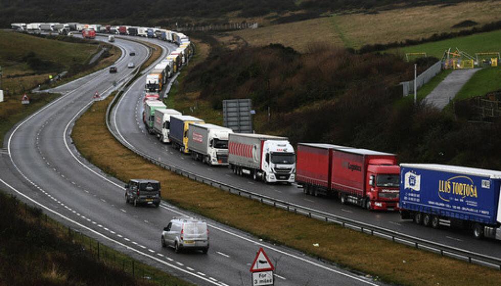 KØER: Lastebiler i kø ved Dover i England. Britiske dagligvarebutikker har fått beskjeder om å fylle lagrene i helga, i forberedelse på en hard brexit. Foto: AP / NTB