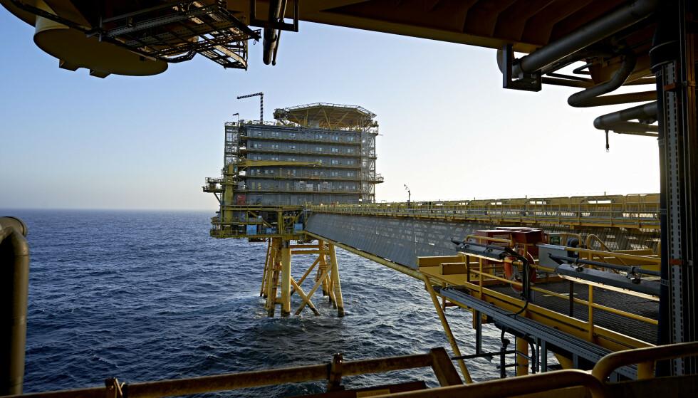 STOPP: De danske oljekranene skal stenges innen 2050, har det danske Folketinget avgjort. På bildet ser vi A.P. Møller-Maersks oljeplattform Halfdan i Nordsjøen. Foto: Claus Bonnerup / Polfoto / NTB