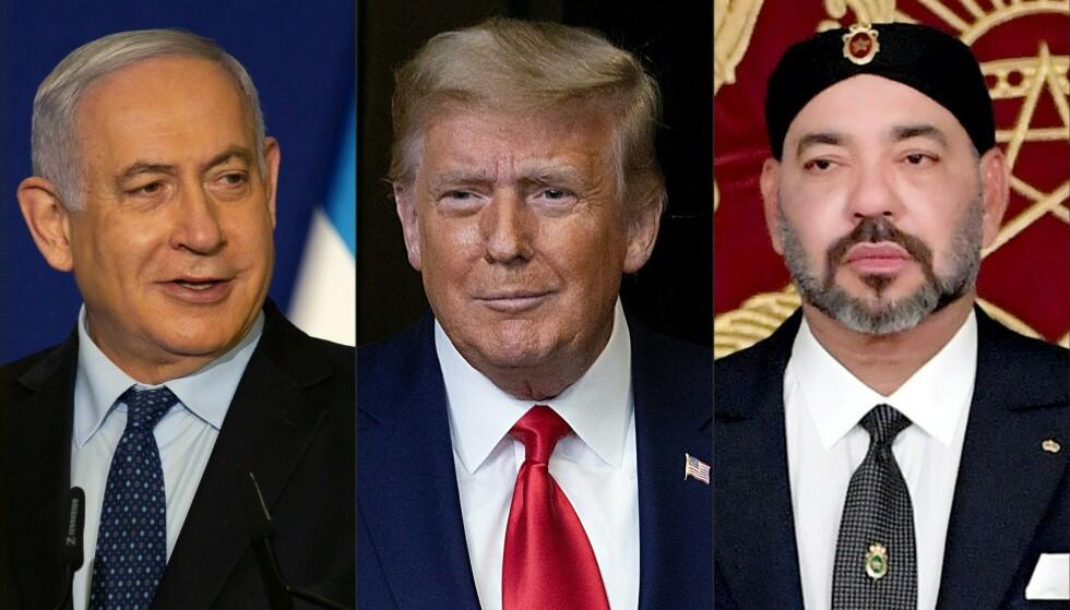 OMSTRIDT DIPLOMATI: President Donald Trumps omstridte diplomati i Midt-Østen har ført til at Marokko er det fjerde arabiske landet som i løpet av året har anerkjent Israel. Her en bildemontasje av f. v. Israels statsminsiter Benjamin Netanyahu, Trump og Marokkos konge Mohammed VI. Foto: NTB Scanpix