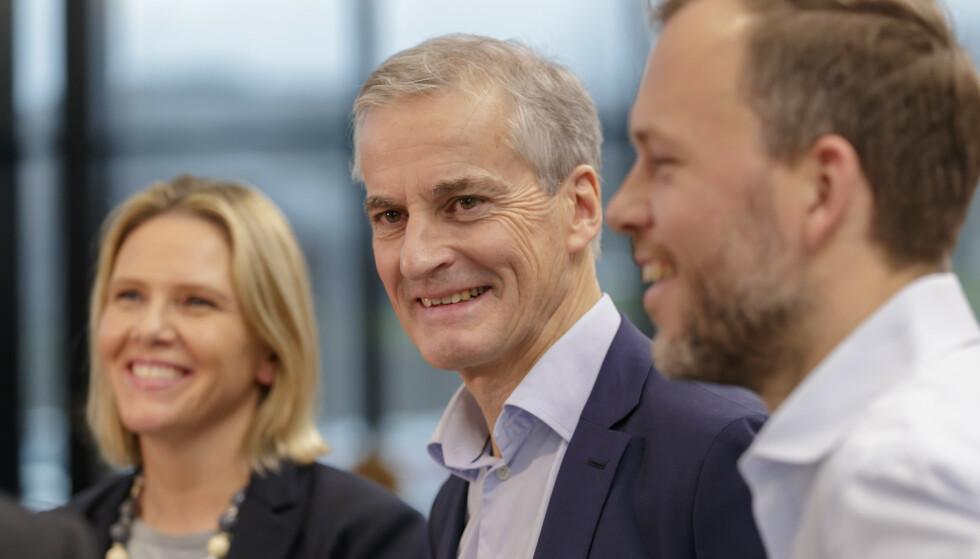 ENIGE: Sylvi Listhaug (Frp), Jonas Gahr Støre (Ap) og Audun Lysbakken. Foto: Cornelius Poppe / NTB