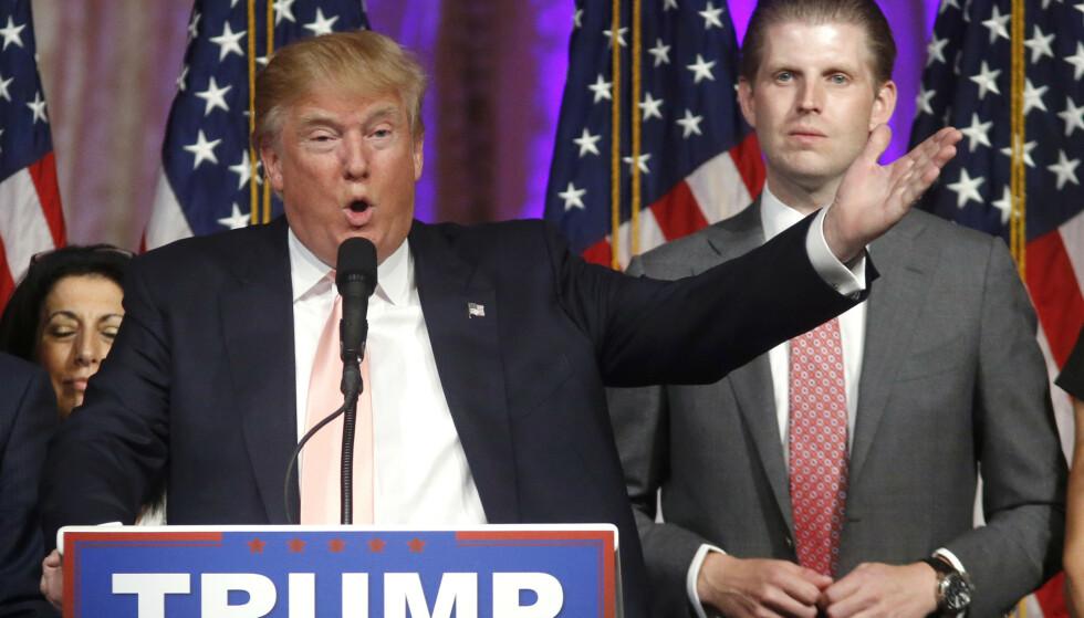 SINNA: Eric Trump, Donald Trumps sønn og sjef for The Trump Organization. Foto: AP Photo/Gerald Herbert