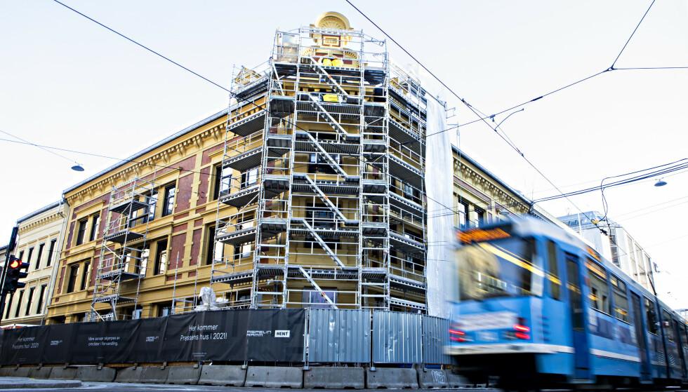 SMITTEUTBRUDD: Pressens hus er under oppføring i Skippergata i Oslo. Foto: Frank Karlsen / Dagbladet