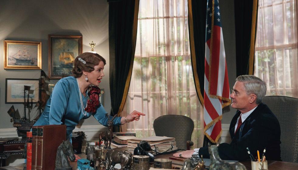 NÆRT FORHOLD: «Atlantic Crossing» handler om vennskapet mellom prinsesse Märtha (Sofia Helin) og president Franklin D. Roosevelt (Kyle MacLachlan). Foto: NRK