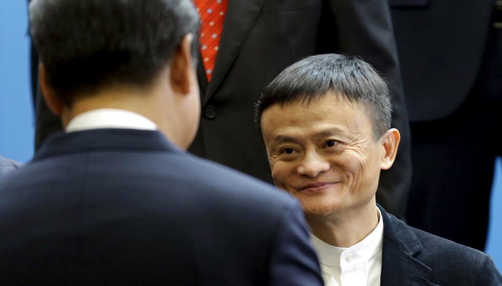 STIDES: Her hilser Jack Ma på Xi Jinping i 2015. Siden den gang har forholdet de to imellom tilsynelatende blitt mye dårligere. Foto: REUTERS / Ted S. Warren / NTB
