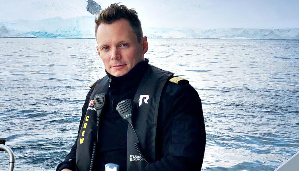 KRITISK: Kristian Sæterhaug, tidligere resepsjonssjef på Hurtigruten. Her på tokt i Sørishavet. Foto: Privat