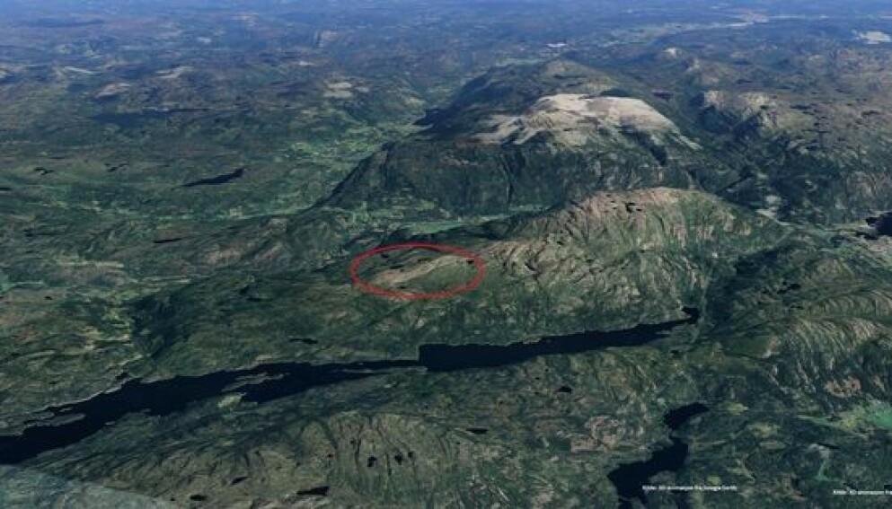 INGEN BEBYGGELSE: Fjelleiendommen er uten bebyggelse, og har ikke dyrkbart areal eller skog. Foto: Landkreditt Eiendom/Google Earth