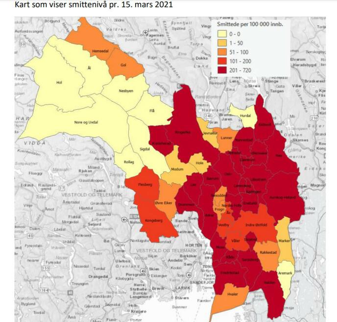 SMITTETRYKK: Kartet viser at smittetrykket i en rekke populære hyttekommuner i Viken for tida er svært lavt. Grafikk: Helsedirektoratet