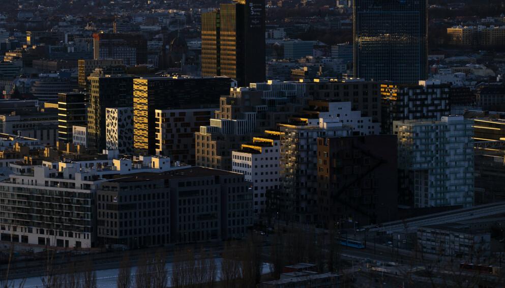 PENGEMASKIN: Barcode-rekken i Oslo - her jobber noen av toppsjefene i det private næringslivet som fikk et lønnsløft godt over det vanlige ansatte fikk i fjor. Foto: Berit Roald / NTB