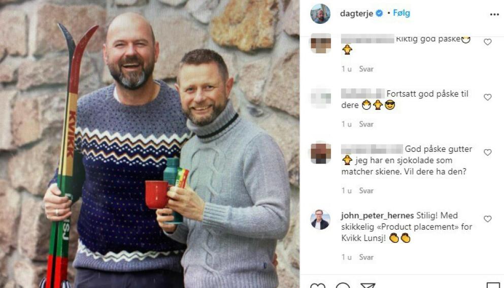- VET HVA HAN GJØR: Helseminister Bent Høie og ektemannen Dag Terje Klarp Solvang poserer med sponsorer av DNT, som Solvang er toppsjef i. Foto: Skjermdump Instagram.