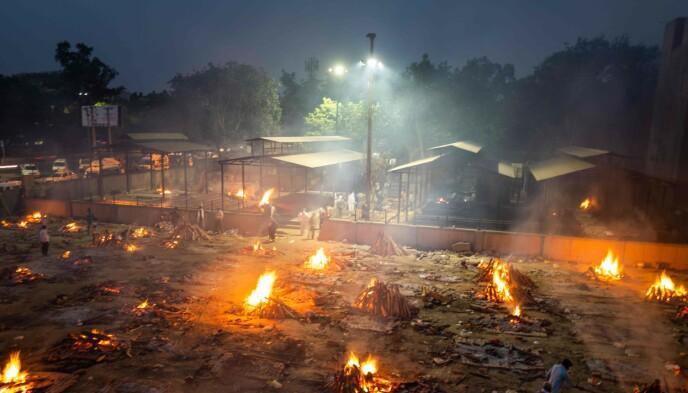 KREMERES: På en plass i Dehli kremeres coronaofre side om side. Foto: Jewel Samad / AFP / NTB