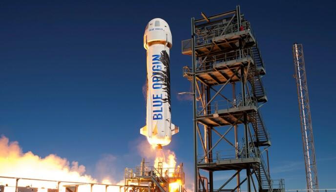 NEW SHEPARD: Den aktuelle romraketten, New Shepard, er oppkalt etter den første amerikaneren i verdensrommet - Alan Shepard. Foto: HO / AFP / NTB