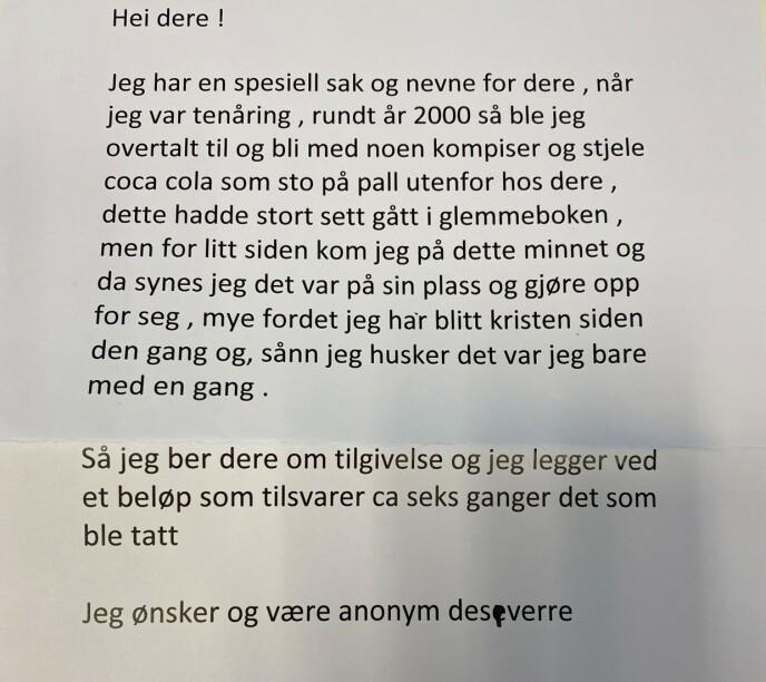 BREVET: Slik ser brevet der den anonyme avsenderen innrømmer sine synder. Foto: Privat