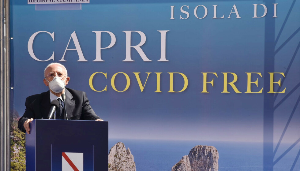 CORONAFRI: Regionspresident Vincenzo De Luca annonserte nylig at øya er «coronafri». Foto: Splash News/ NTB