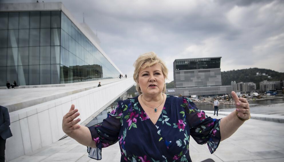 AVVISER: Statsminister Erna Solberg (H) avviser at Norge er dårligere stilt for framtida nå enn da hun tok over i 2013. Foto: Lars Eivind Bones / Dagbladet