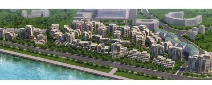 TEGNINGER: Slik ser tegningene ut for boligprosjektet ved elva i den nordkoreanske hovedstaden. Foto: KCTV via 38 North