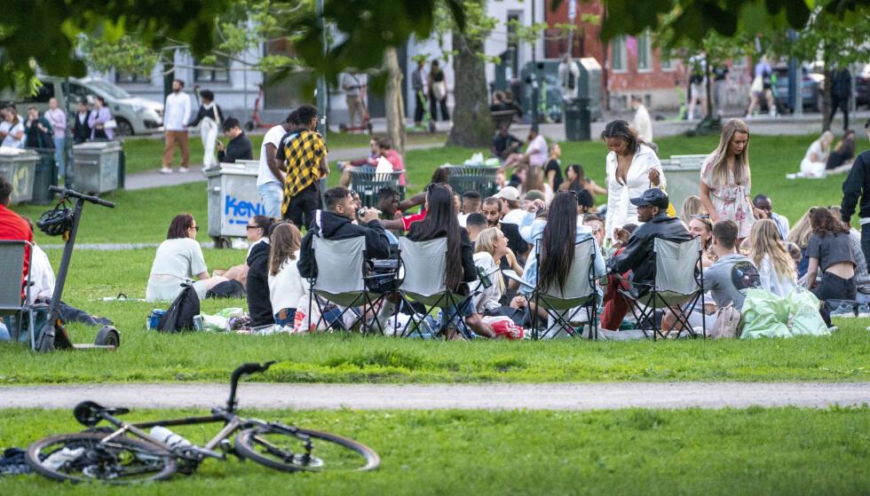 SOMMER, GJENÅPNING OG SOL: Folk nyter sommerkvelden i Sofienbergparken på Grünerløkka i Oslo fredag. Foto: Terje Pedersen / NTB