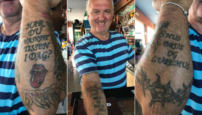 SAVNER NORDMENN: Så glad er Zamanis i sine norske gjester, at han har tatovert intet mindre enn tre - nokså iøynefallende - hyllester til nordmenn på sin greske kropp.