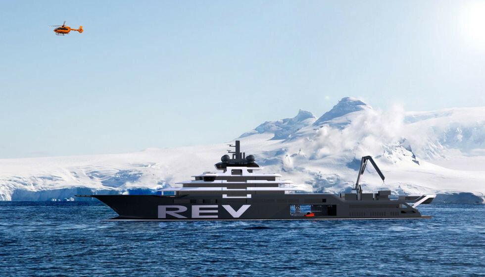 BYGGEPROBLEMER: Millionskipet «Rev Ocean» skal både være en kobninasjon av en luksusyach og et forskningsskip. Nå kan det ta mellom tre til fem år før kjempeyachten kan komme på sitt første forskningstokt. Foto: TSG.