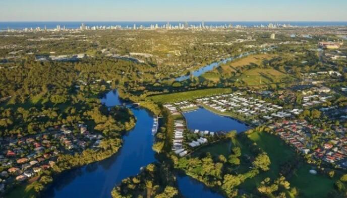 LANDSKAPET: Dronebilde av området Riverina Gold Coast Estate. Foto: Realestate.com