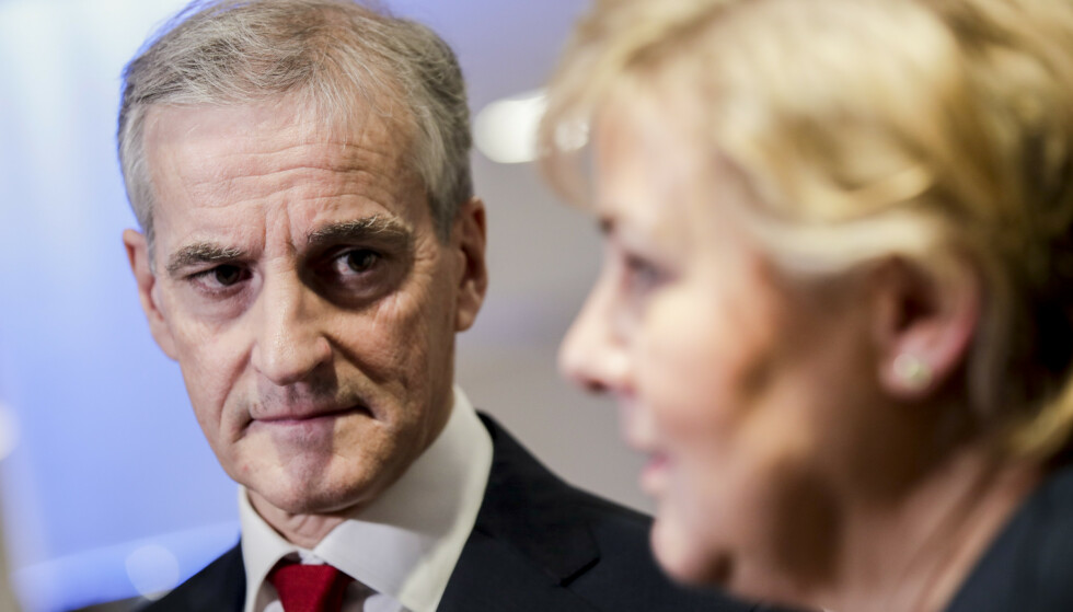 SKATT MOT ULIKHET: Ap-leder Jonas Gahr Støre mener statsminister Erna Solbergs (t.h.) skattepolitikk skaper økte forskjeller.Foto: Vidar Ruud / NTB