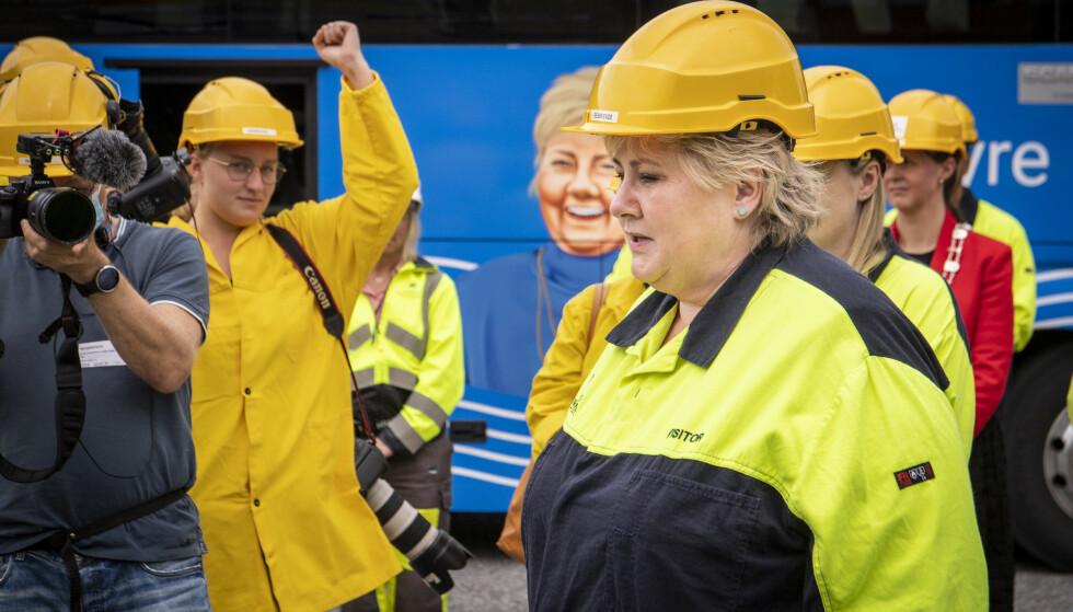 GRØNN INDUSTRI: Elektrifiseringen av Yaras amoniakksfabrikk på Herøya er ett av regjeringens prestisjeprosjekter innen grønn industri. Det er en utvikling regjeringen vil fortsette, om de beholder makta etter valget. Foto: Lars Eivind Bones / Dagbladet