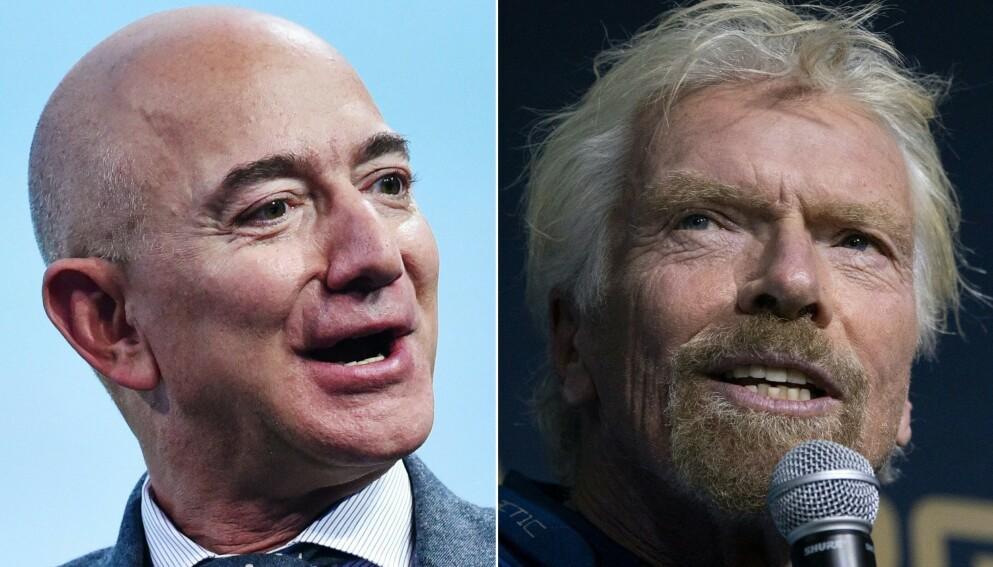 SUPERRIKINGER: Søndag skal Richard Branson (t.h.) skytes opp i rommet, ni dager før verdens rikeste mann, Jeff Bezos' planlagte romferd, den 20. juli. Foto: Mandel Ngan / Don Emmert / AFP / NTB