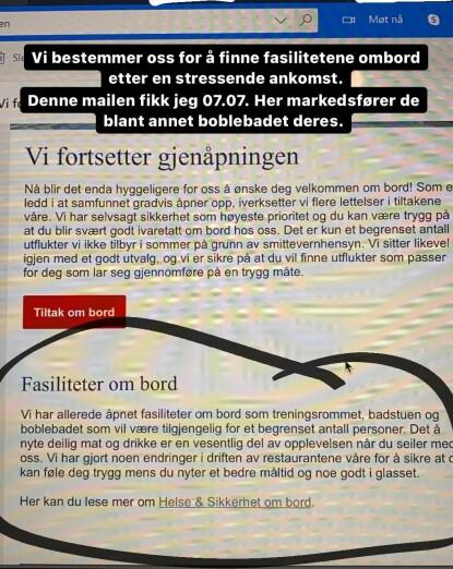 INSTAGRAM: Myhre viser til at Hurtigruten reklamerte med boblebad om bord. Foto: Skjermdump Instagram