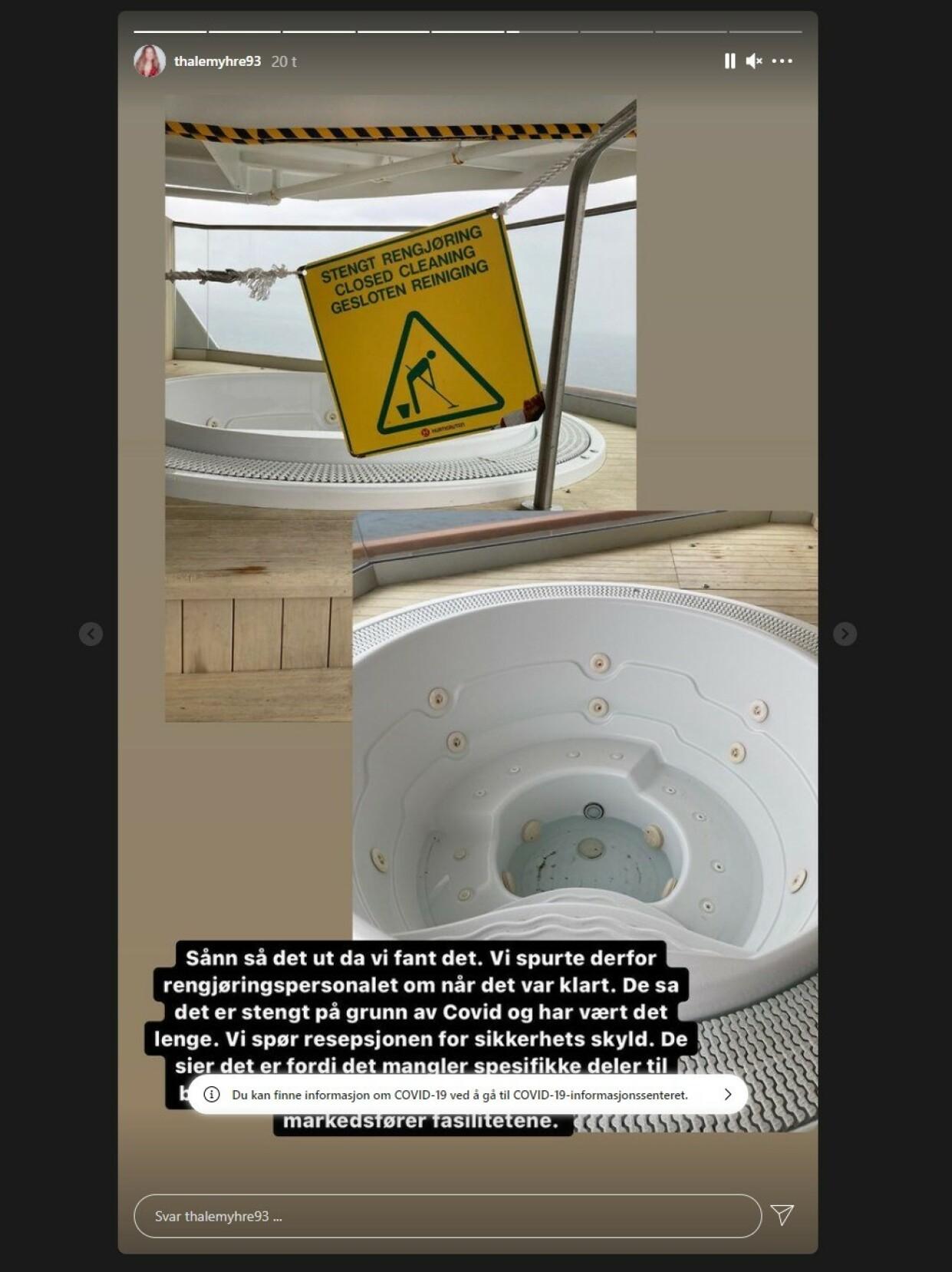 SLAKT: Den defekte jacuzzien ombord, som Myhre hevder selskapet reklamerte med før turen, er en av flere ting som får hard medfart. Foto: Thale Myhre / Skjermdump Instagram