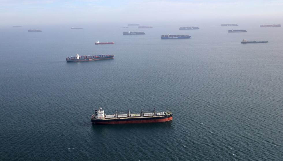 LANGVARIG: Det er ikke første gang det meldes om globale logistikkproblemer det siste året. Dette bildet fra april i år viser et stort antall containerskip som venter på å få legge til kai ved Los Angeles under coronakrisa. Foto: Lucy Nicholson / Reuters / NTB