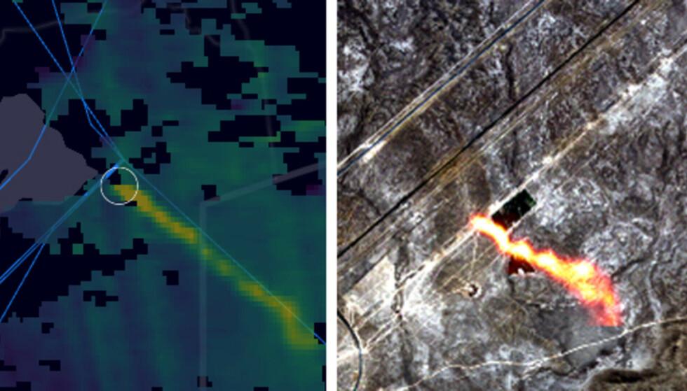 LEKKASJE: Denne gasslekkasjen fra en gassledning i Kasakshstan ble oppdaget av ESAs satelitter. Foto: ESA