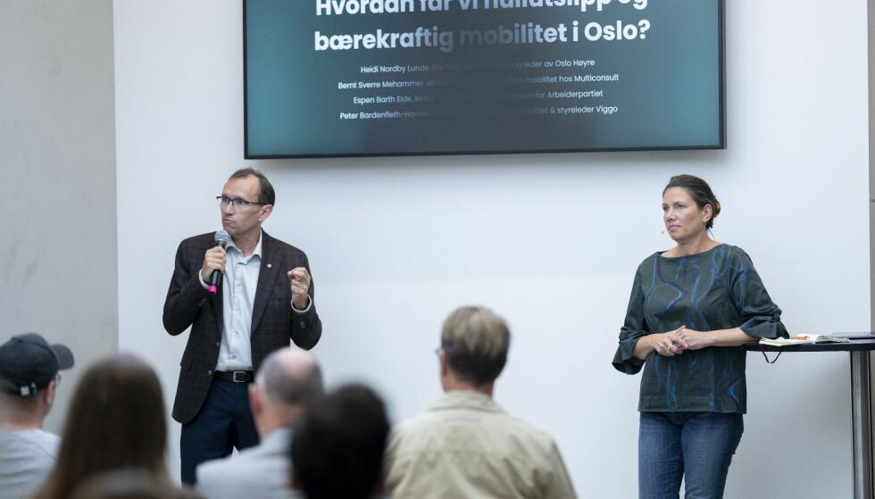 KLIMA: Espen Barth Eide (Ap) og Heidi Nordby Lunde (H) debatterte klimapolitikk på Viggo og Polestars seminar. Taxireformen ble også et tema, der Høyre er for, mens Arbeiderpartiet går til valg på å fjerne deler av reformen. Foto: Fredrik Hagen / Dagbladet