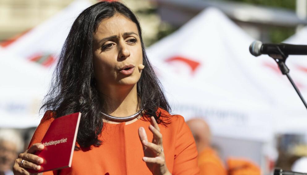 TALLTULL: Ap-nestleder Hadia Tajik lurer på om finansministeren tøyser. Foto: Tor Erik Schrøder / NTB
