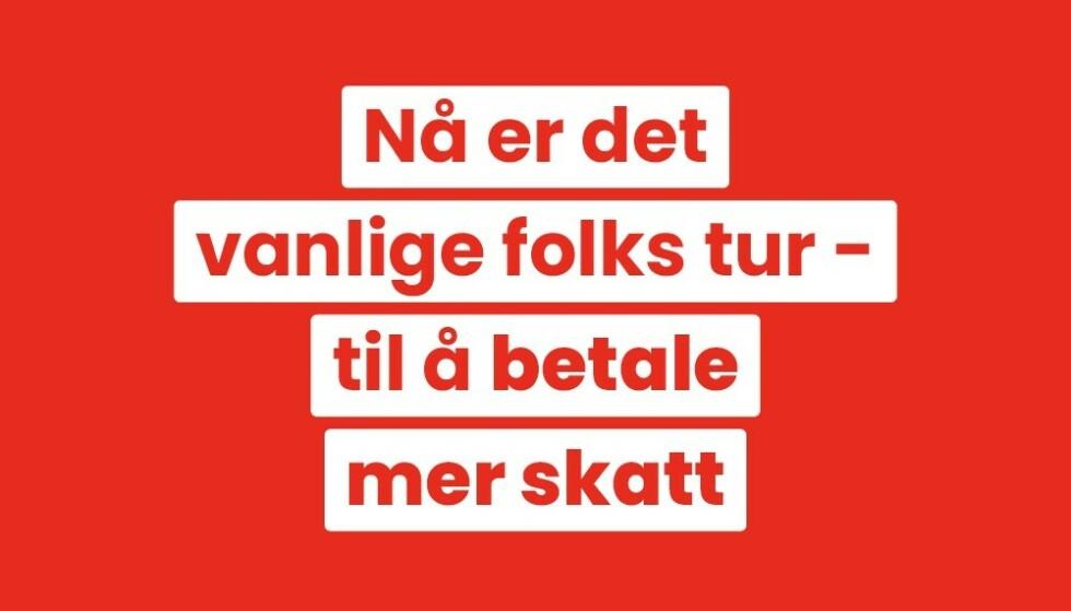 PROVOSERER: Innlegget på Høyres Facebook-konto har skapt sterke reaksjoner i Arbeiderpartiet. Foto: Skjermdump